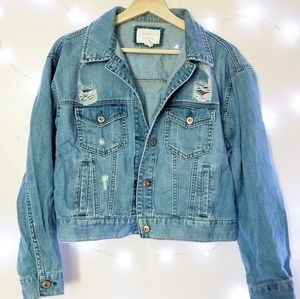 forever 21 distressed classic denim jacket